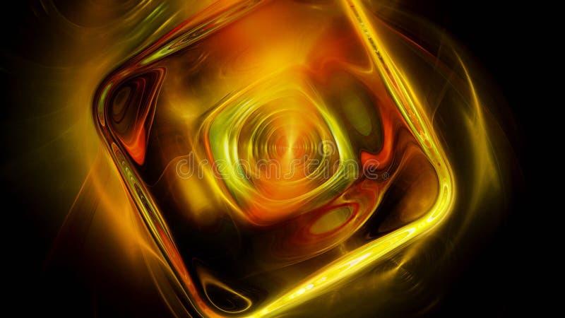 Abstrakt massiv glödande kub med reflexioner stock illustrationer