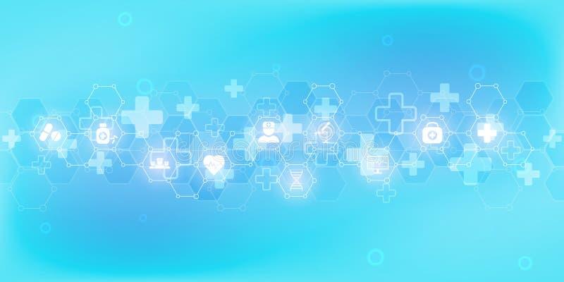 Abstrakt medicinsk bakgrund med plana symboler och symboler Begrepp och id?er f?r sjukv?rdteknologi, innovation vektor illustrationer