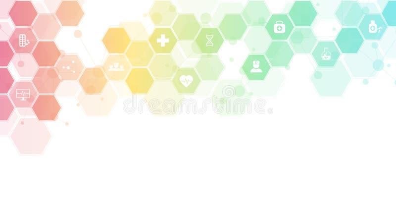 Abstrakt medicinsk bakgrund med plana symboler och symboler Begrepp och id?er f?r sjukv?rdteknologi, innovation stock illustrationer