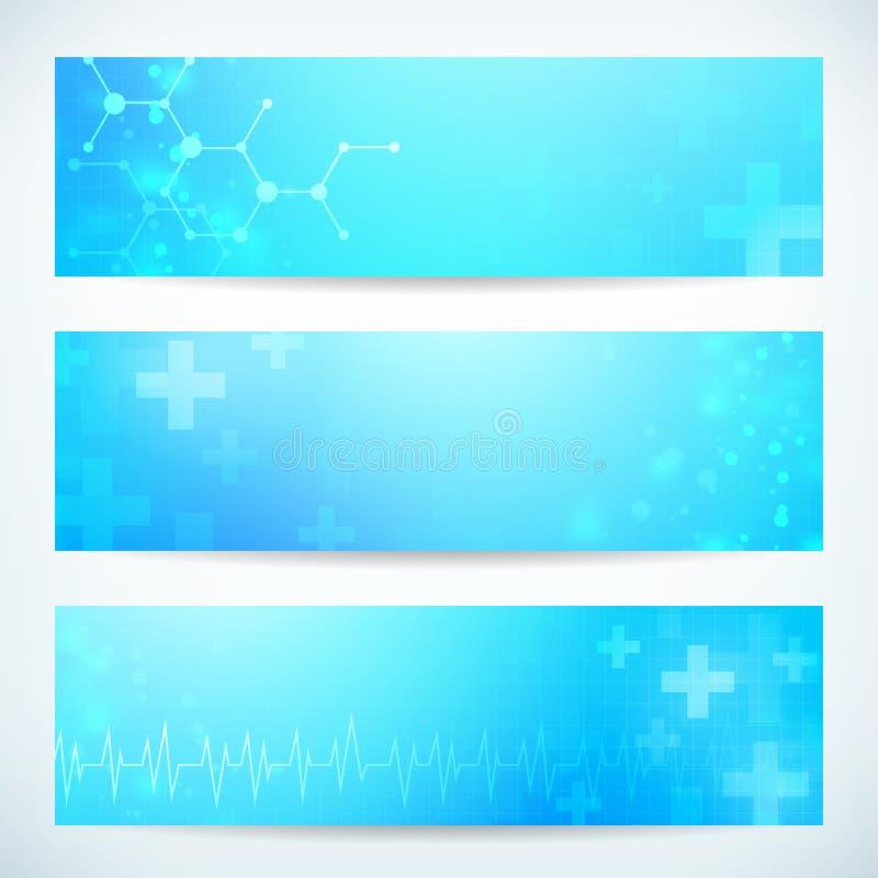 Abstrakt medicinskt baner för teknologi tre vektor illustrationer