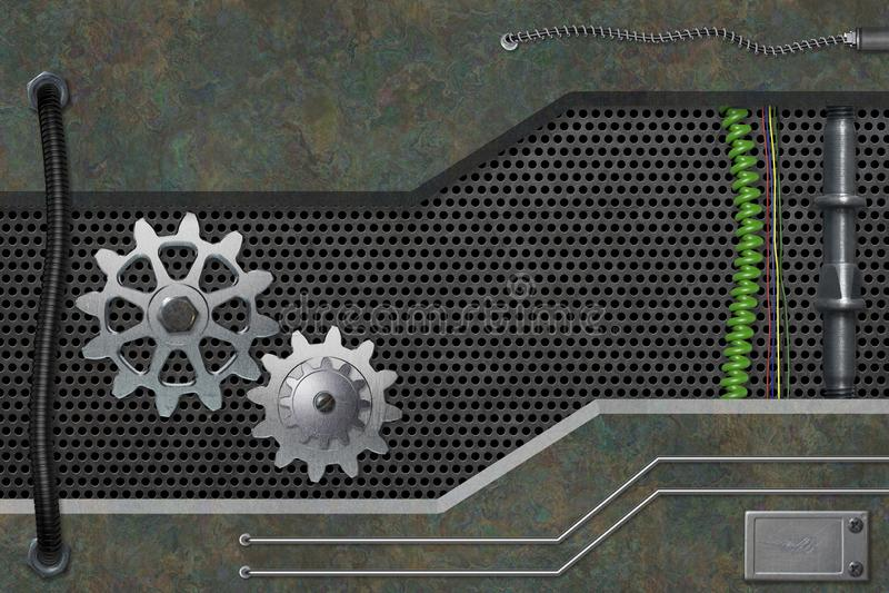 Abstrakt metall texturerade industriell bakgrund stock illustrationer