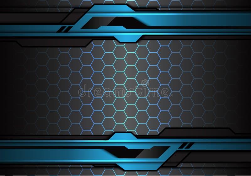 Abstrakt metallisk futuristisk polygonlinje för blå svart på vektor för bakgrund för teknologi för design för sexhörningsingrepps stock illustrationer