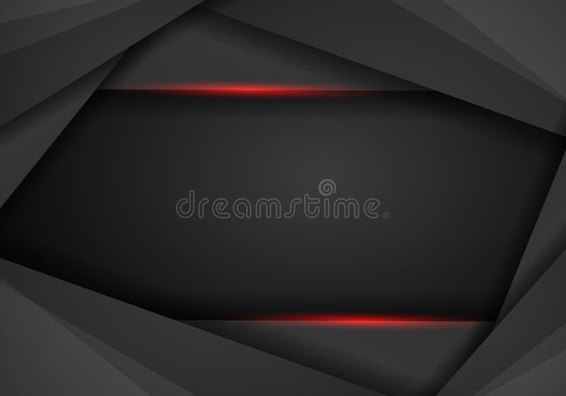 Abstrakt metallisk röd svart innovation för tech för ramorienteringsdesign vektor illustrationer
