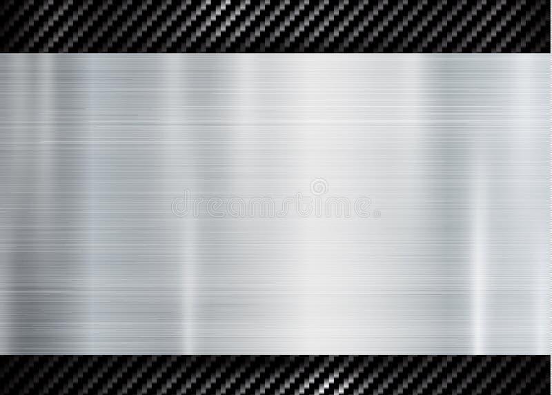 Abstrakt metallisk ram på bakgrund för begrepp för innovation för sportar för tech för modell för kolkevlar textur stock illustrationer