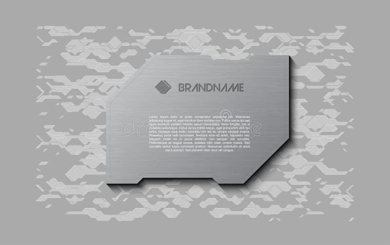 Abstrakt miękkiej części powitania popielaty futurystyczny ekran Metal technologii talerz na chaotycznym planu tle royalty ilustracja