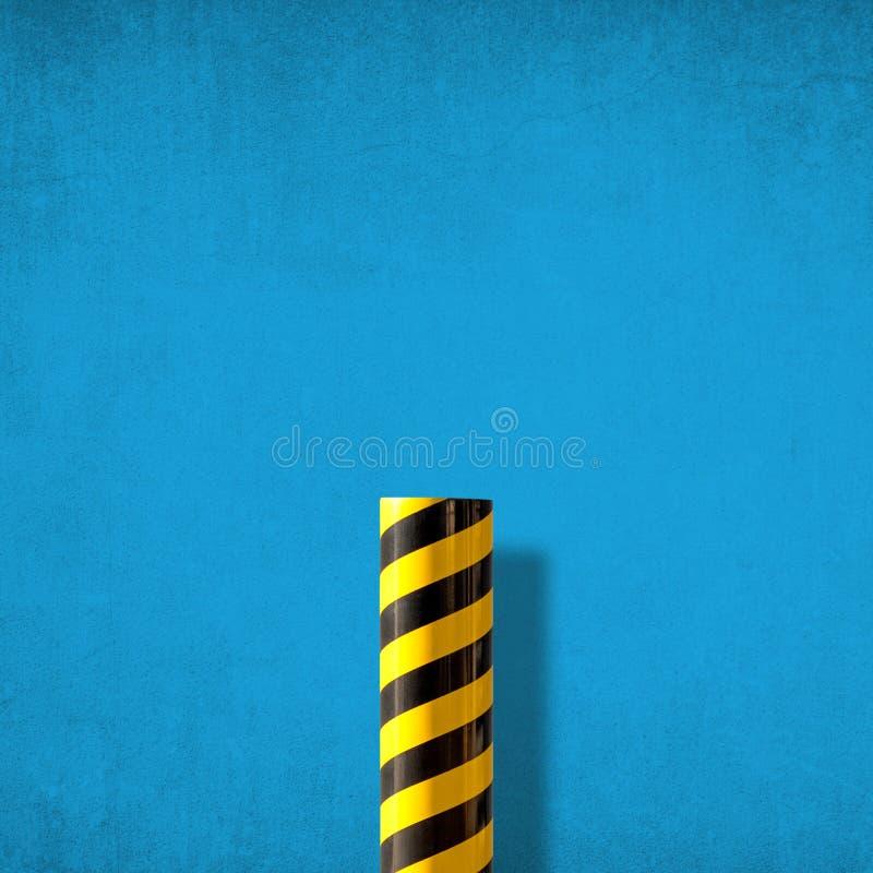 Abstrakt minimalist bild av vägvarningstecknet mot den blåa väggen arkivfoto