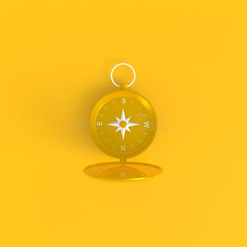 Abstrakt minsta gul bakgrund för kompass, loppbegrepp royaltyfri illustrationer