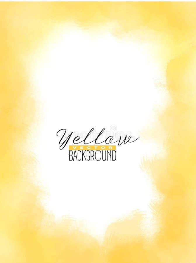 Abstrakt mnoży kolorowego akwareli tło w żółtym kolorze ilustracja wektor