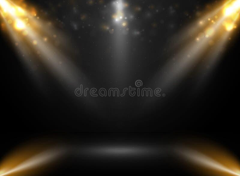 Abstrakt mockup sceny przedstawienie w gradientowym czarnym tle z światło reflektorów bokeh ilustracja wektor