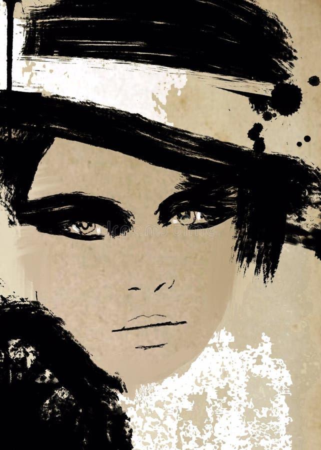 Abstrakt modeillustration i svartvitt tryck Biracial kvinnamålning stock illustrationer