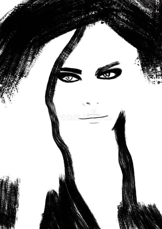 Abstrakt modeillustration i svartvitt tryck royaltyfri illustrationer