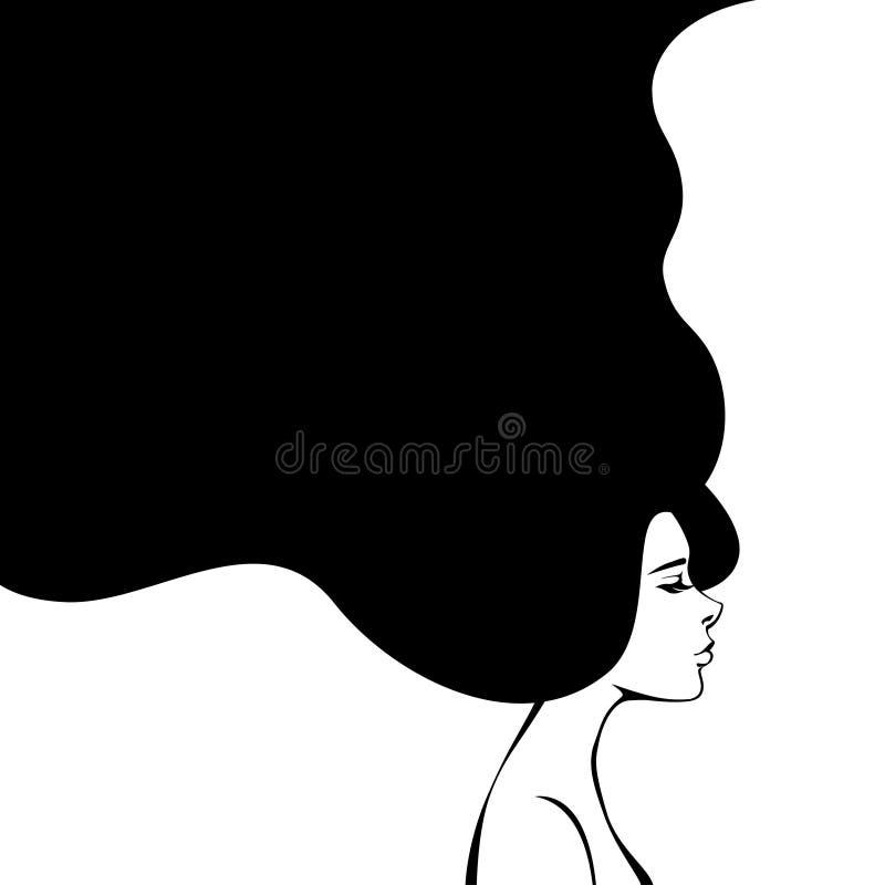 Abstrakt modekvinna med långt hår vektor stock illustrationer