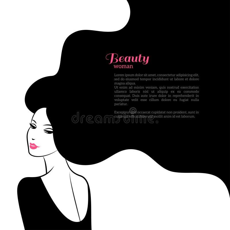 Abstrakt modekvinna med långt hår vektor royaltyfri illustrationer