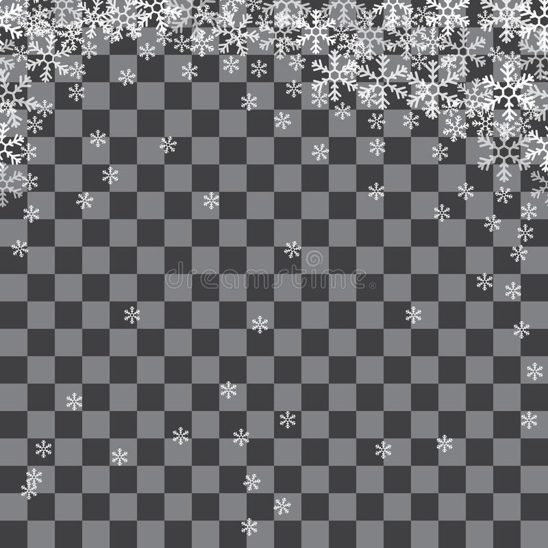 Abstrakt modell av genomskinliga fallande snöflingor vektor illustrationer