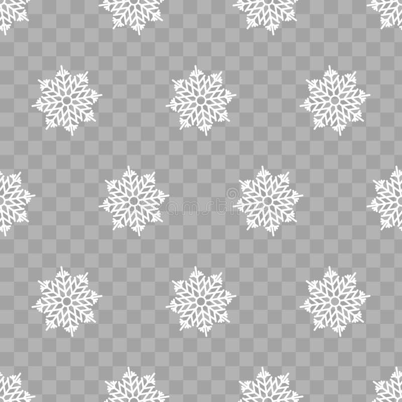 Abstrakt modell av genomskinliga fallande snöflingor stock illustrationer