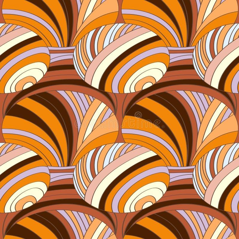 Abstrakt modell av randiga delar med kulöra linjer och vågor royaltyfri illustrationer