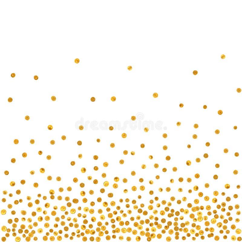 Abstrakt modell av slumpmässiga fallande guld- prickar vektor illustrationer