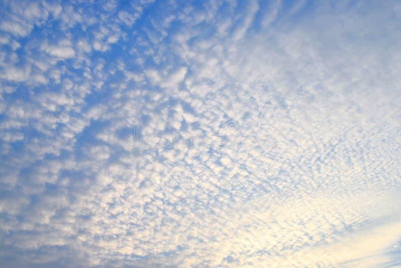 Abstrakt modell av vita Cirrocumulusmoln i oändlig blå himmel - naturlig bakgrund arkivbild