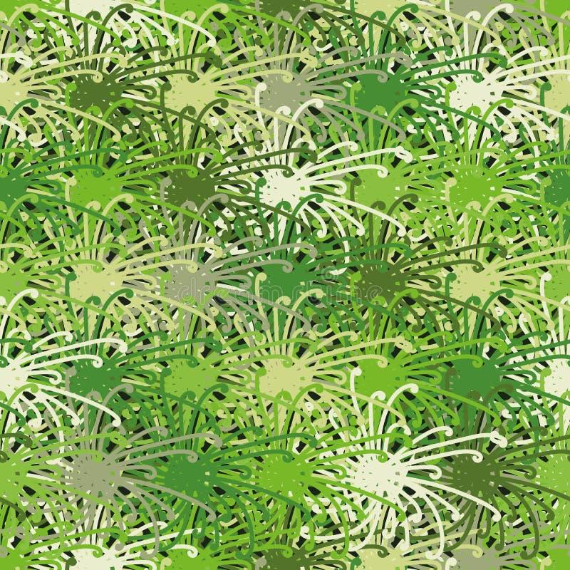 Abstrakt modell för sömlös vektor med organiska gröna former royaltyfri illustrationer