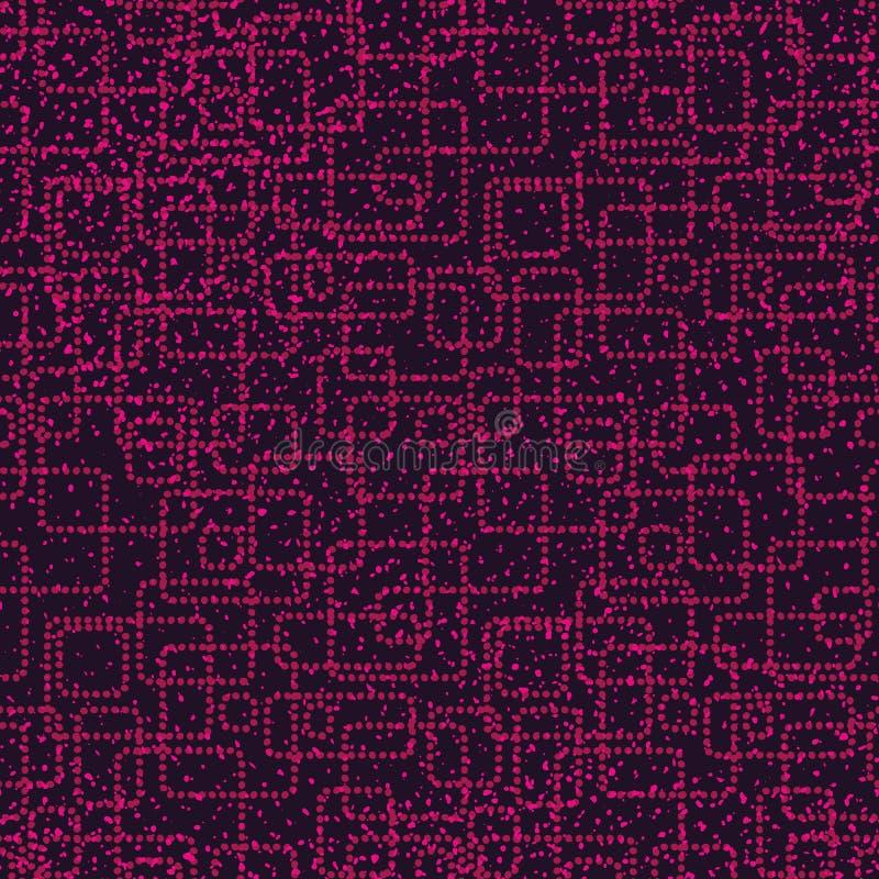 Abstrakt modell för sömlös vektor med rosa prickar som bildar rektangulära former stock illustrationer