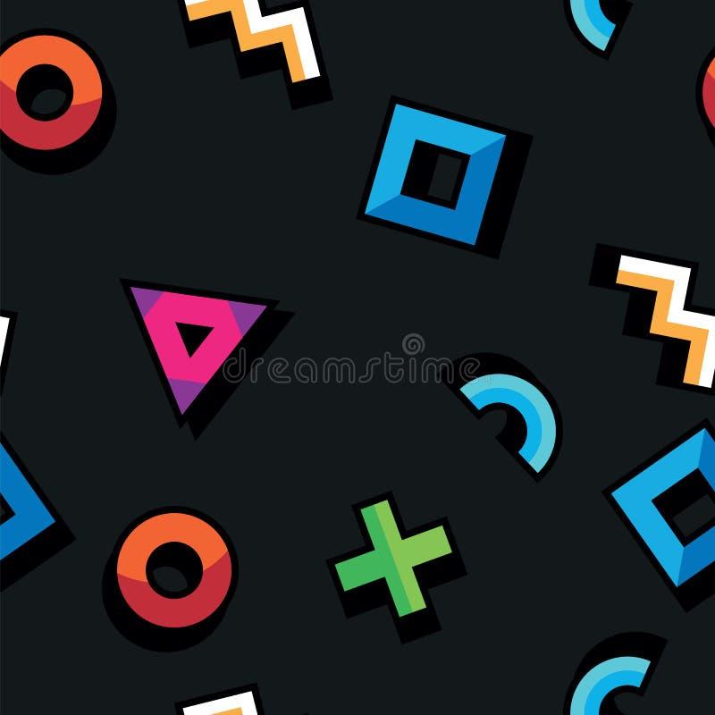 Abstrakt modell i geometrisk stil Sömlös modell med geometriska diagram Triangel cirkel, fyrkant, krökta linjer på royaltyfri illustrationer