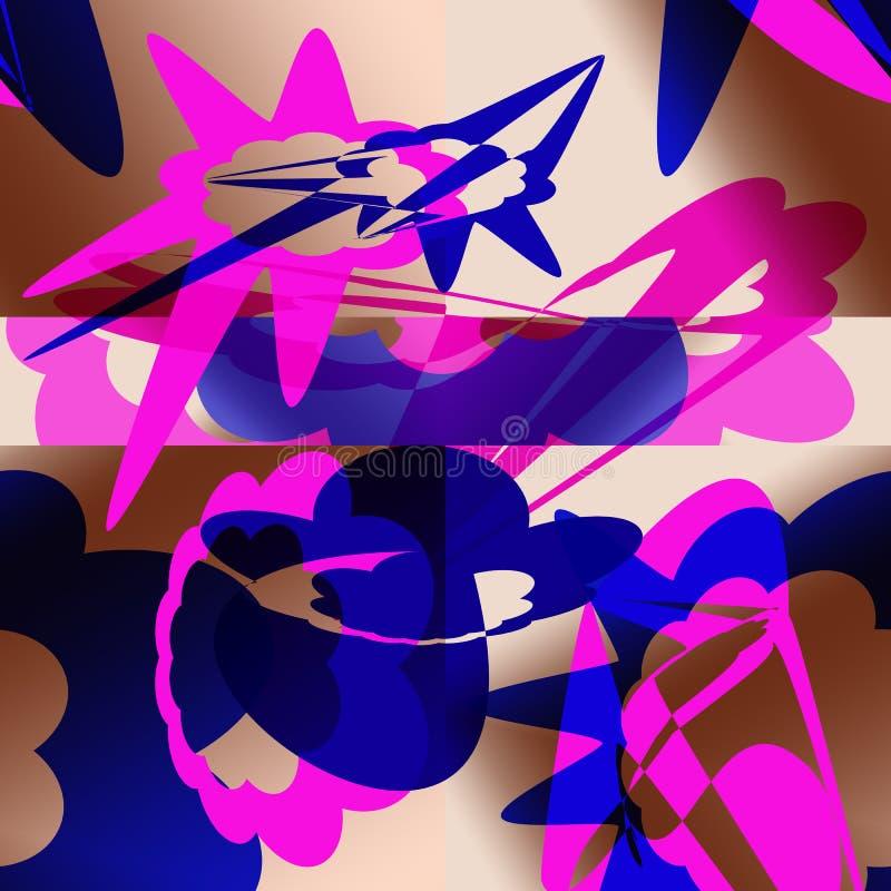 Abstrakt modell med blåa och rosa beståndsdelar stock illustrationer