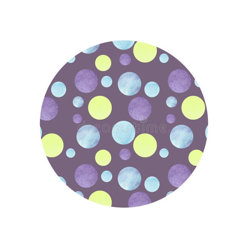 Abstrakt modell med f?rgrika cirklar och violett bakgrund f?r den moderiktiga designtapeten, textil, kort royaltyfri illustrationer