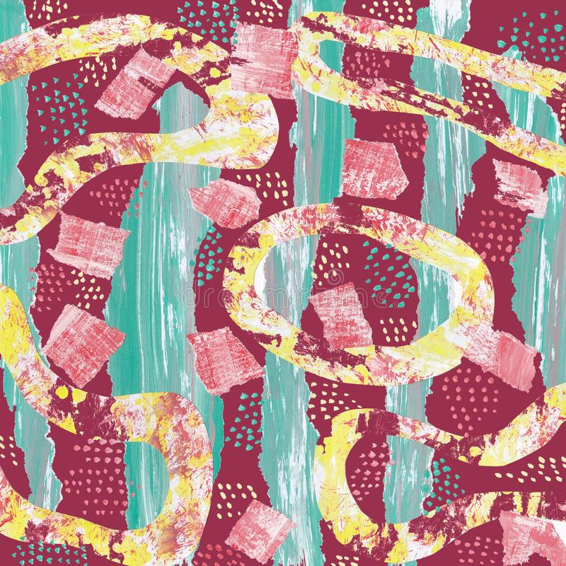Abstrakt modell p? burgundy bakgrund med collage av gr?na band och gula former stock illustrationer