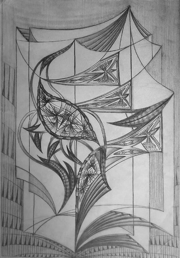 Abstrakt modell som göras på vitbok med grafitblyertspennan Grafisk bild stock illustrationer