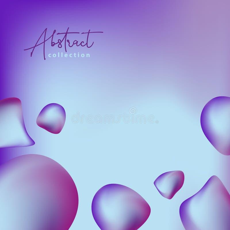 Abstrakt moderiktig bakgrund för purpurfärgad och blå vektor med former för vätskelutning 3d, vätskefärger Isolerade vätskedesign royaltyfri illustrationer