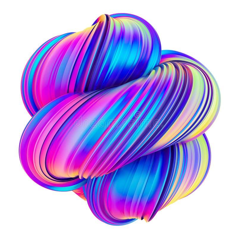 Abstrakt moderiktig holographic färg vred formdesignbeståndsdelen vektor illustrationer