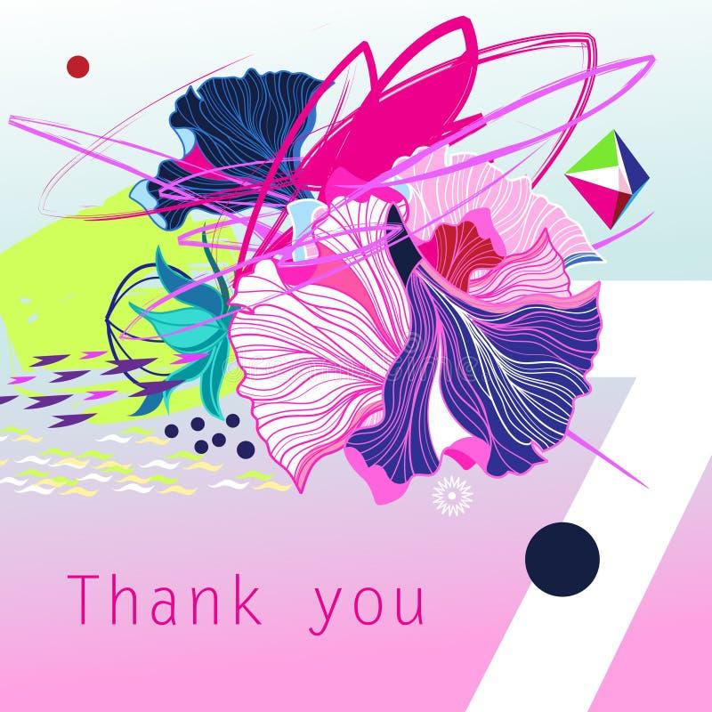 Abstrakt moderiktigt härligt vektorhälsningkort med att märka för tack stock illustrationer