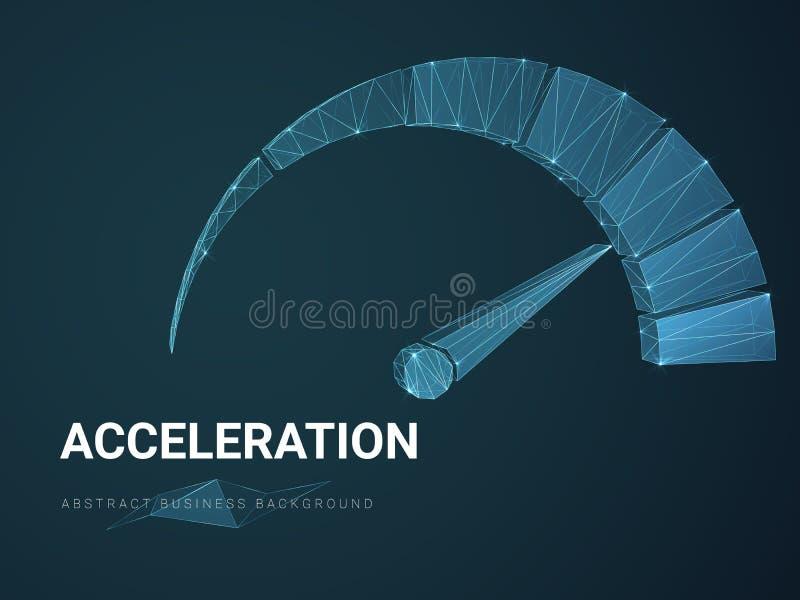 Abstrakt modern affärsbakgrundsvektor som visar acceleration med linjer i form av en hastighetsmätare på blå bakgrund stock illustrationer