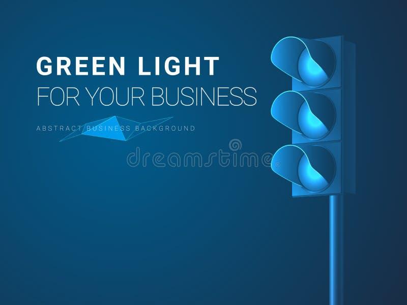 Abstrakt modern affärsbakgrundsvektor som visar klartecken för din affär i form av trafikljus på blå bakgrund stock illustrationer
