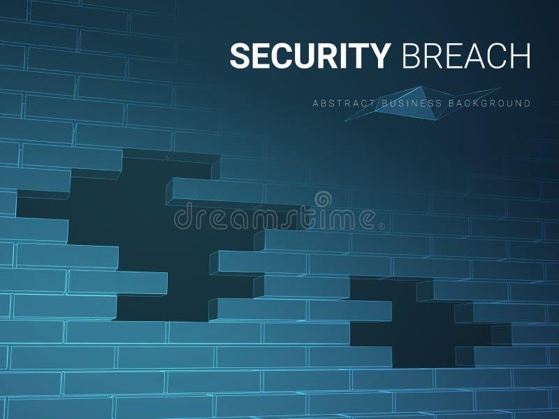 Abstrakt modern affärsbakgrundsvektor som visar säkerhetsöverträdelsen i form av en tegelstenvägg med hål på blå bakgrund vektor illustrationer