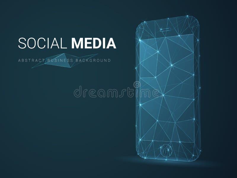 Abstrakt modern affärsbakgrundsvektor som visar socialt massmedia med linjer i form av en mobiltelefon på blå bakgrund royaltyfri illustrationer
