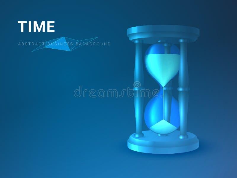 Abstrakt modern affärsbakgrundsvektor som visar tid i form av ett timglas på blå bakgrund fotografering för bildbyråer