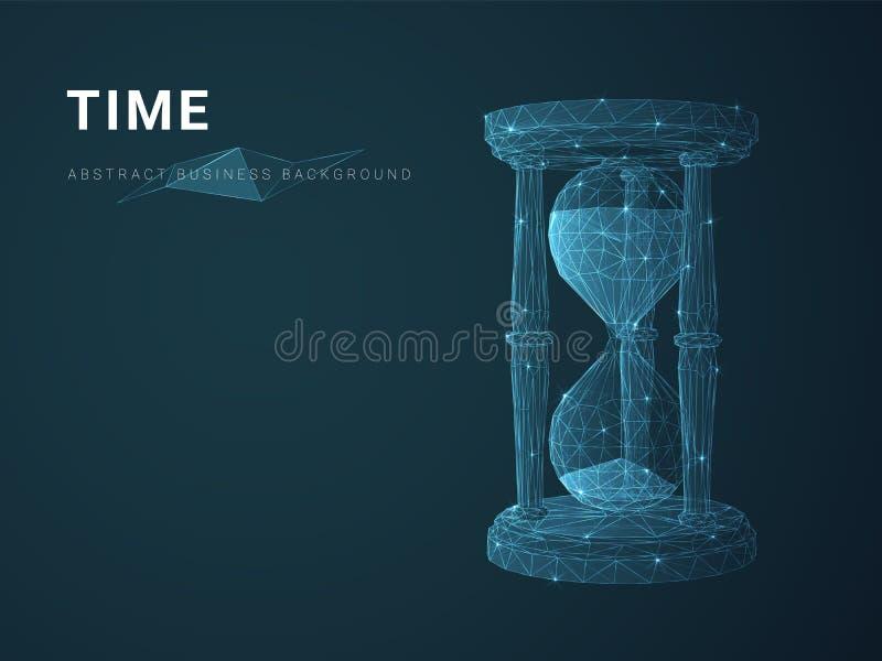 Abstrakt modern affärsbakgrundsvektor som visar tid med stjärnor och linjer i form av ett timglas på blå bakgrund arkivfoto