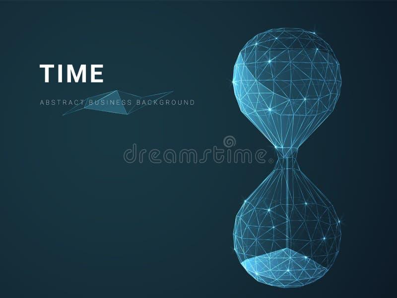 Abstrakt modern affärsbakgrundsvektor som visar tid med stjärnor och linjer i form av ett timglas på blå bakgrund arkivfoton
