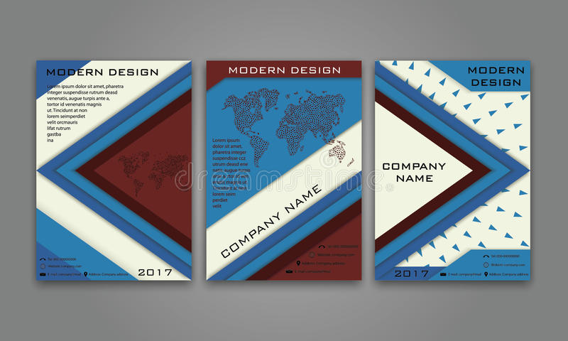 Abstrakt modern affärsreklamblad, broschyr, affisch, årsrapport, mall för vektor för tidskrifträkning i färg för blå brunt Materi stock illustrationer