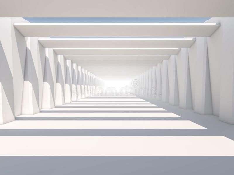 Abstrakt modern arkitekturbakgrund, tomt vitt öppet utrymme arkivbilder