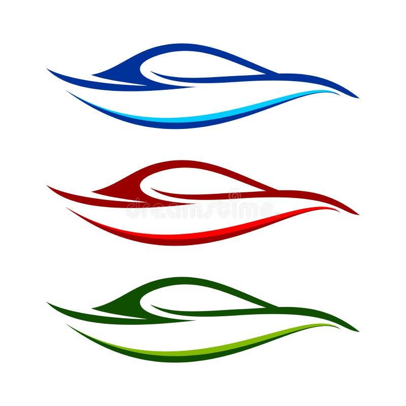 Abstrakt modern bilSwoosh formar symbol royaltyfri illustrationer