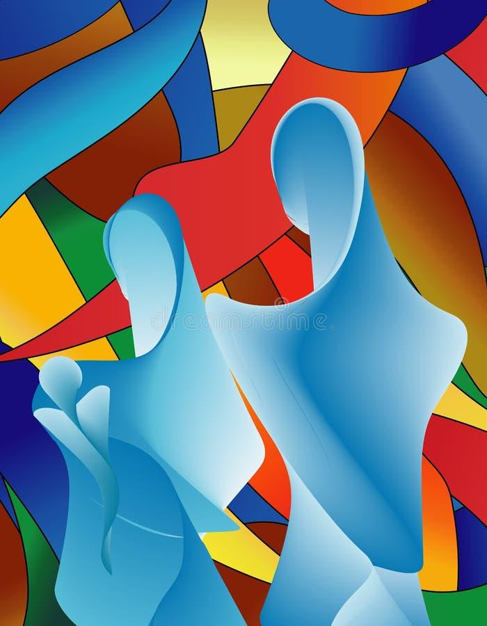 Abstrakt modern blå helig familj med färgrik mosaikbakgrund stock illustrationer