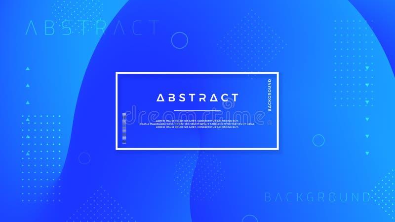 Abstrakt, modern, dynamisk moderiktig blå bakgrund för affischer, baner, webbsidor, titelrader och annan stock illustrationer