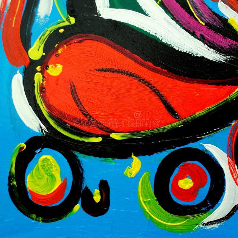 Abstrakt modern målning vid olja på kanfas för inre, illust arkivfoton