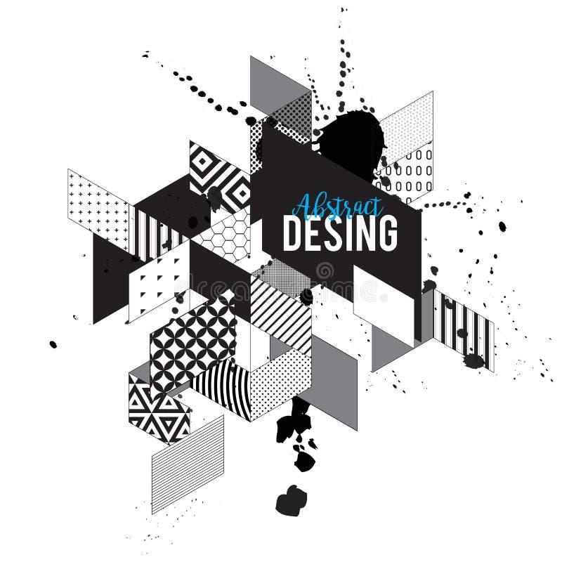 ABSTRAKT MODERN MALLBAKGRUND geometrisk beståndsdel OLIK MODELL royaltyfri illustrationer