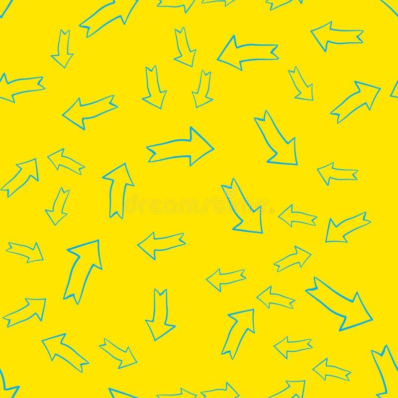 Abstrakt modern sömlös modell för vektor med blåa pilar över guling stock illustrationer