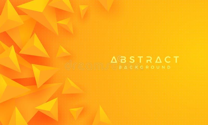 Abstrakt modernt, apelsin för triangel 3D, gul bakgrund vektor för bakgrund eps10 stock illustrationer