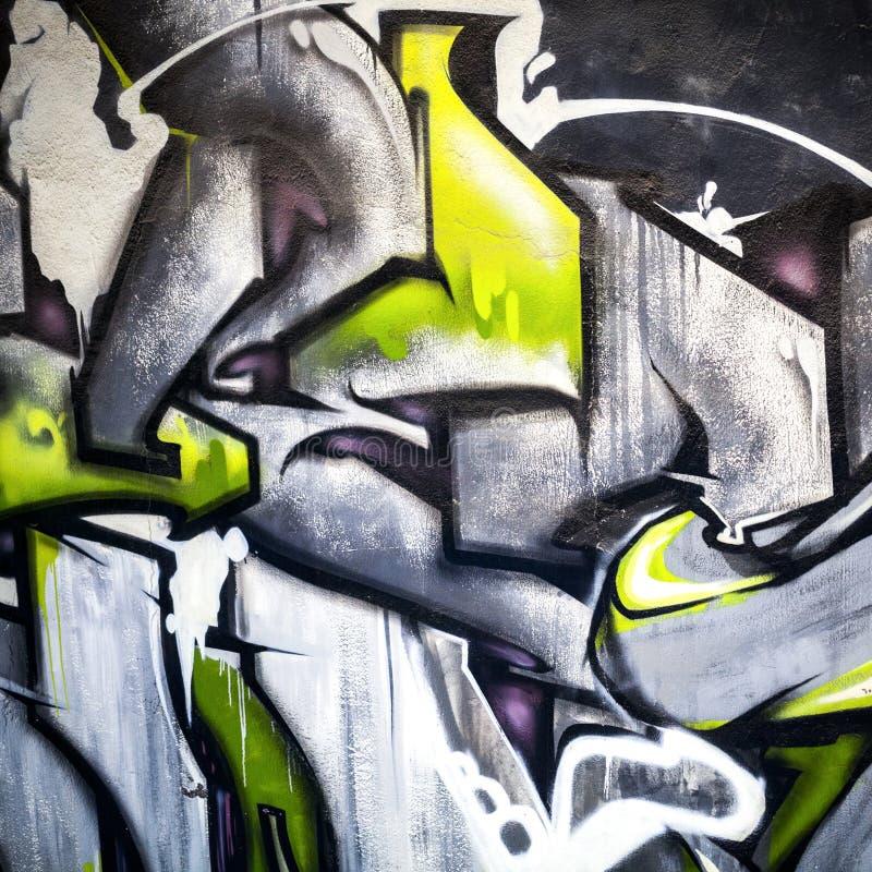 Abstrakt modernt färgrikt grafittifragment royaltyfri bild