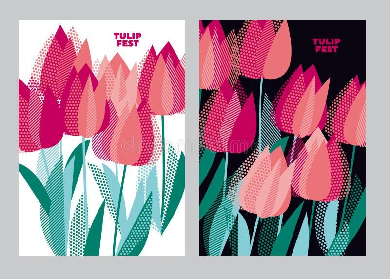 Abstrakt modernt livligt blom- motiv för yttersidadesign Kall spri vektor illustrationer